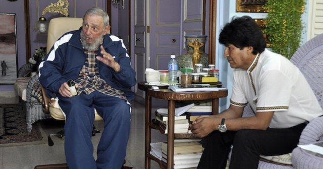 Fidel y Evo Morales